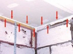 Mastic seal between plasterboard and blockwork creates air cap for the dwelling